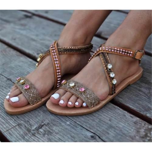Fashion Vintage Rhinestone Flat Sandals