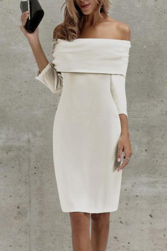 Sexy Off Shoulder Plain Bodycon Dress