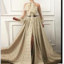 Fashion Elegant Lace-Up Transparent Spotty Long Sleeves Maxi Dress