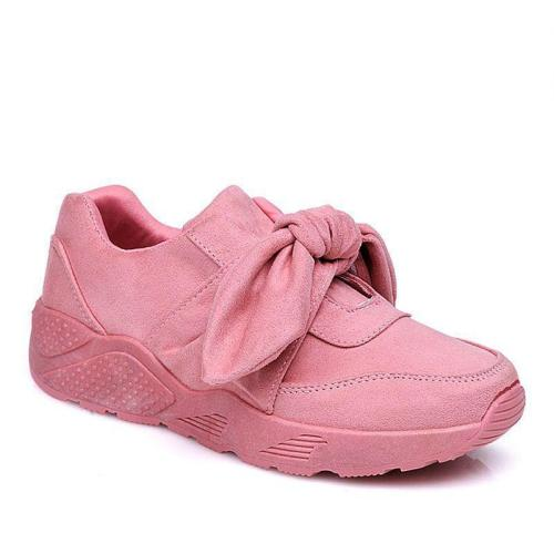 Women's Suede Bowknot Design Sneakers