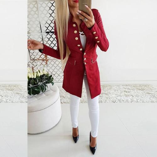 Vintage Button Long Sleeve Plain Blazers