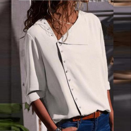 Irregular Buttons Plain Long Sleeve Blouse