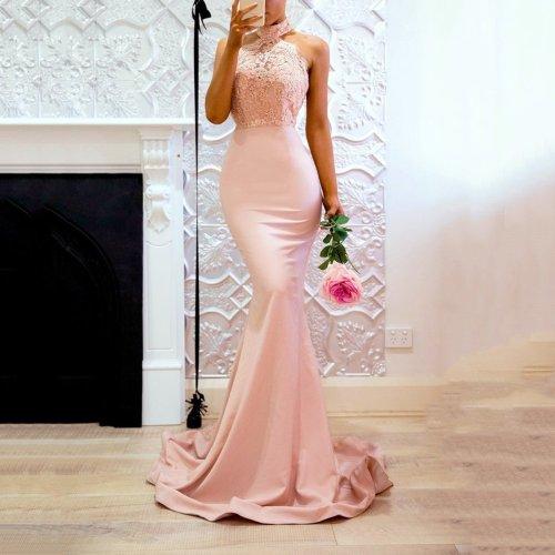 Pink Halter Neck Fishtail Wedding Bodycon Maxi Dress