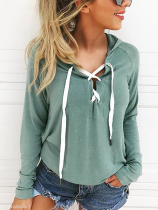 V-Neck Cutout Drawstring Patchwork Bust Darts Plain Hoodies