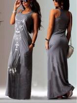 Cat Printed Sleeveless Maxi Dress