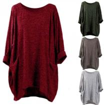 Round Neck Half Sleeves Loose Plain Pocket T-Shirts