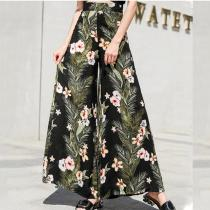 Loose Floral Pants Chiffon Wide Leg Pants