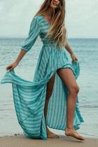 Floral Print Half Sleeves Vacation Maxi Dress