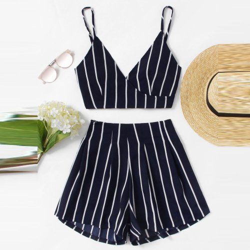 New Style Stripe Printing Casual Vacation Set