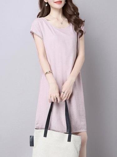 Women Pink A-line Going out Short Sleeve Cotton Casual Solid Dress