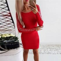 Round Neck  Beading  Plain  Long Sleeve Bodycon Dresses
