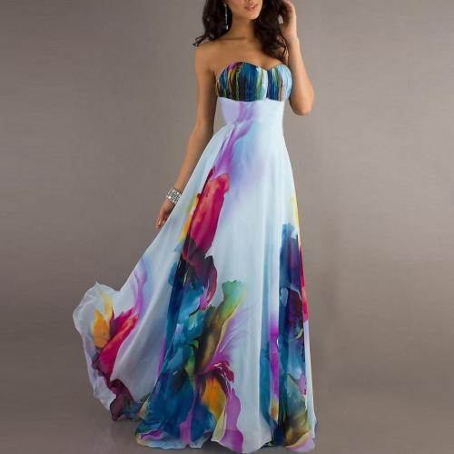 Sexy Strapless Printing Beach Vacation Dress