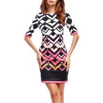 Round Neck Short Sleeve Bodycon Dresses