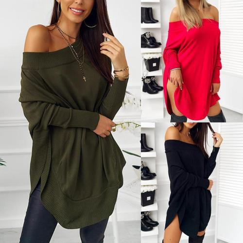 Loose Long Sleeve Sexy Off Shoulder Patchwork Casual Dress