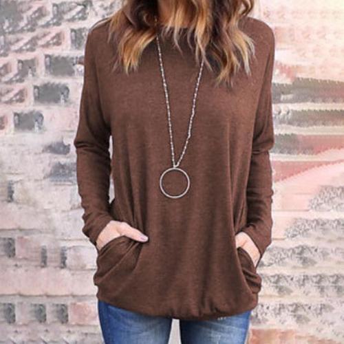 Casual Round Collar Plain Loose Soft T-Shirt