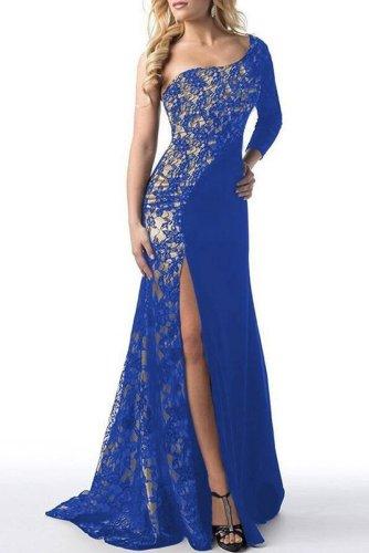 One Shoulder High Slit Patchwork Evening Dress