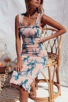 Bohemian Printed Sling Slim   Dress
