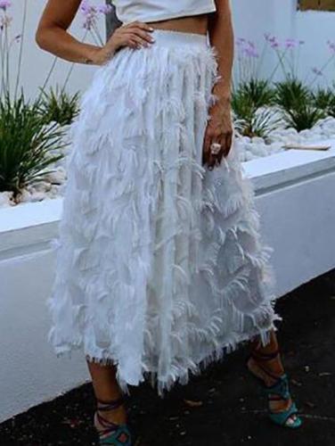 Fashion Plain Loose High Waist Velvet Fringe Long Skirt