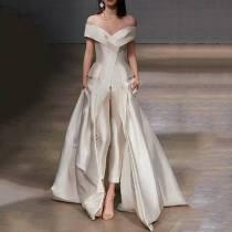 Fashion V Neck Off-Shoulder Pure Colour Evening Dress