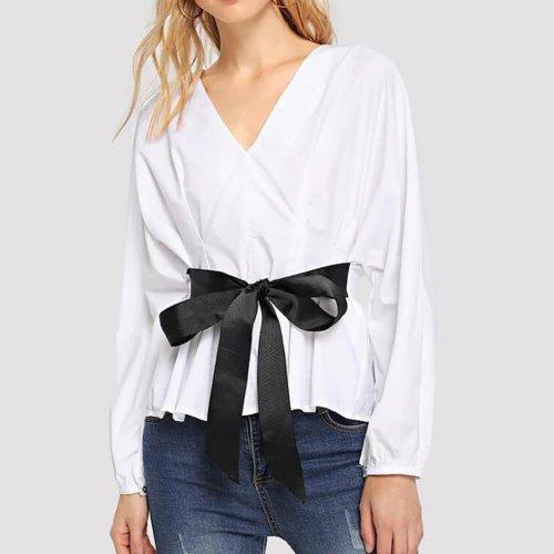 Casual V Neck Long Sleeve Waist Shirt