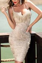 Sexy Deep V Sling Sleeveless Tassel Bodycon Dresses