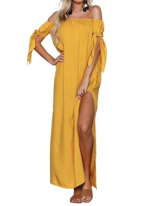 Off Shoulder  Lace-Up Side Slit  Plain Maxi Dress