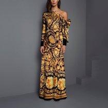 Sexy Fashion Floral Print Long Sleeve Maxi Dresses
