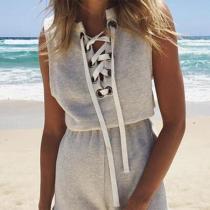 Summer Sleeveless Beach Bandage Shorts Playsuit