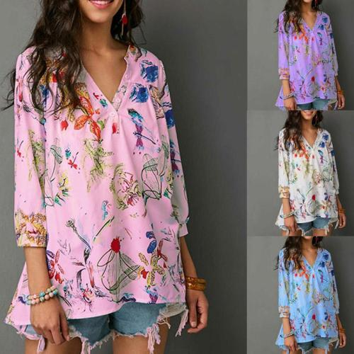 V Neck Button Floral Printed Casual Blouses