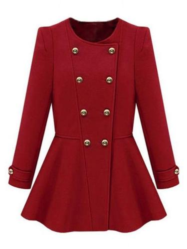 Lovely Round Neck Breasted Plain Trench-Coats
