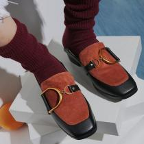 Square Toe Slip On Flat Loafers