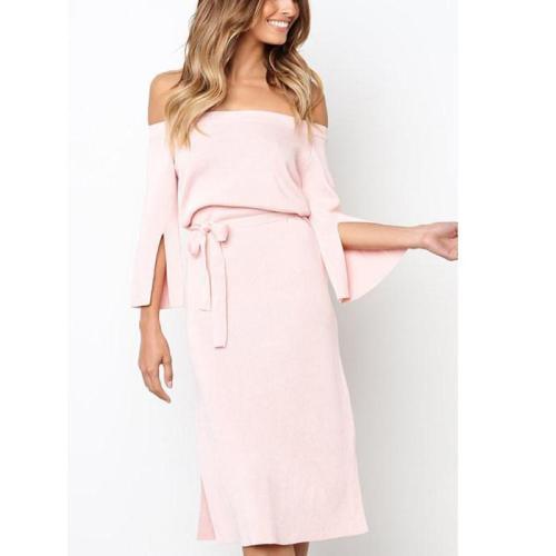 Sexy Elegant Off Shoulder Plain Mini Bodycon Dress