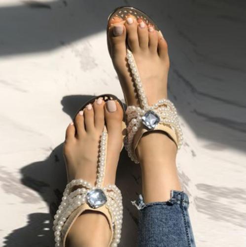 Bohemia Beaded Clip Toe Flat Casual Beach Sandal Shoes