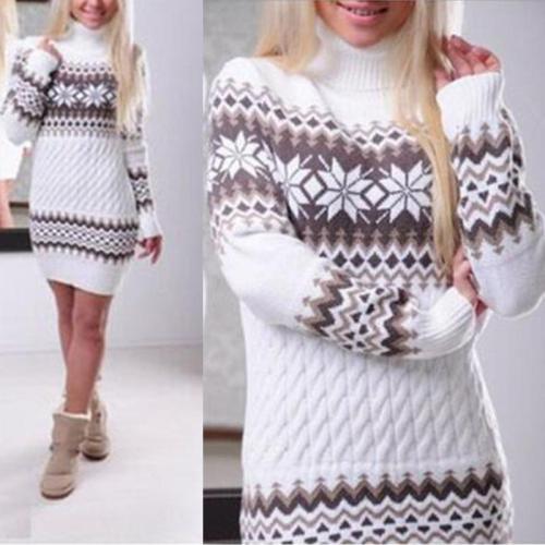 Turtle Neck Snow Printed Long Sleeve Knitting Bodycon Dress