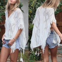 Sexy White Knitting Tassel Hollow Beachwear