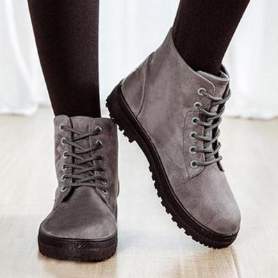 Plain Flat Velvet Criss Cross Round Toe Outdoor Ankle Boots