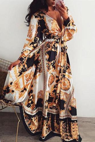 Fashion V Collar Printing Evening Dresses
