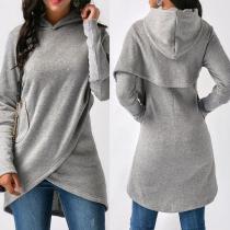 Hooded Asymmetric Hem Patchwork Plain Hoodies