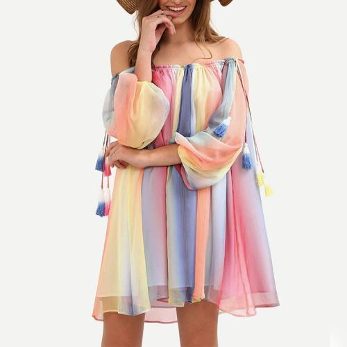 Off Shoulder Colorful Long Bell Sleeve Casual Dress