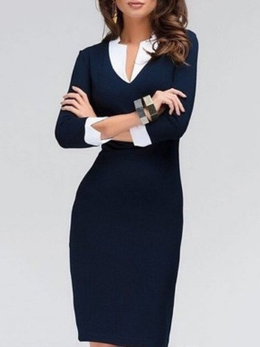 Fold-Over Collar Plain Blend Bodycon Dresses