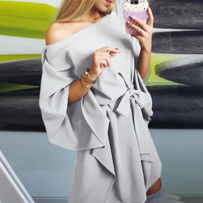 One Shoulder  Asymmetric Hem Belt Plain  Batwing Sleeve casual Dresses
