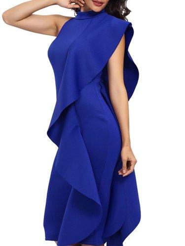Band Collar Plain Blend Bodycon Dresses