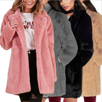Medium Long Soft Fluffy Rabbit Fur Coat