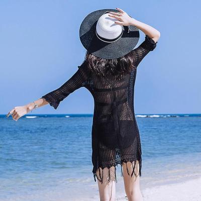 Sexy Hollow Tassel Thin Bikini Swimsuit Blouse