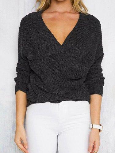 Knitting V-Neck Sweater Tops