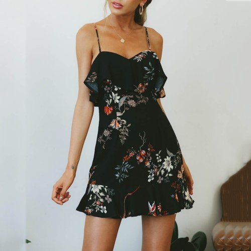 Floral Print Sexy Sleeveless Casual Dresses