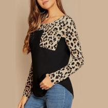 Leopard Print Pocket Stitching Long Sleeve T-Shirt