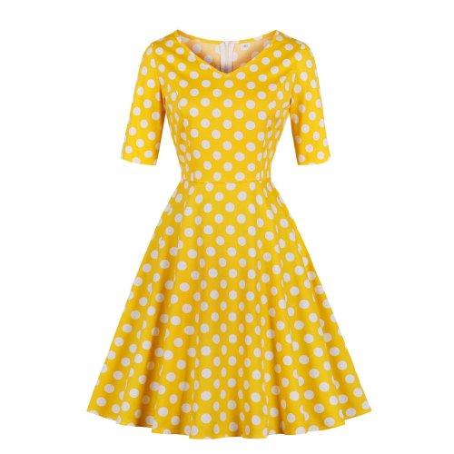 Casual Short Sleeve V Neck Yellow Skater Dress