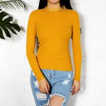 Round Neck Knit Long Sleeve T-Shirt