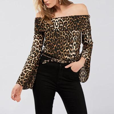 Leopard Printed Flare Long Sleeve Off Shoulder T-Shirts
